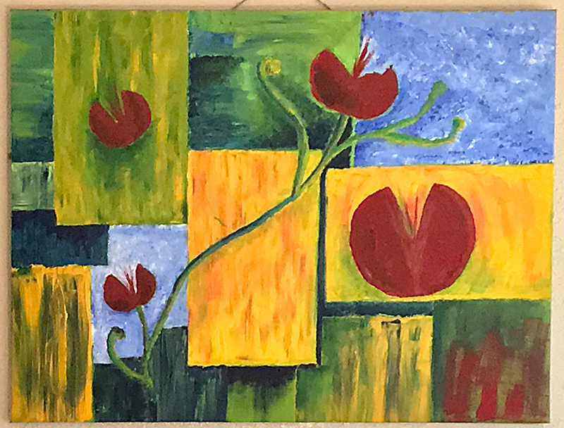 "A fair trade rug I had enchanted me with its design and inspired THIS acrylic on canvas: ""Art Matches Furniture."""