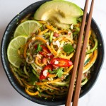 a bowl Vietnamese pesto noodles with chopsticks