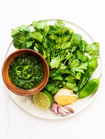coriander chutney in a bowl with coriander, chillis, ginger, garlic, lime and salt surrounding it