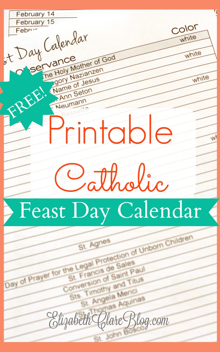 Free Printable Catholic Liturgical Calendar : printable, catholic, liturgical, calendar, Free-printable-feast-day-calendar, Elizabeth, Clare
