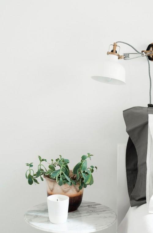 bedside table, lamp, interior design