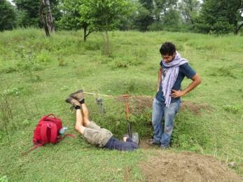Digging pits in the Ganga floodplain