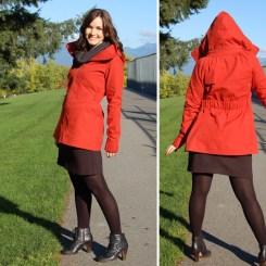Tasia of Sewaholic models her red Minoru