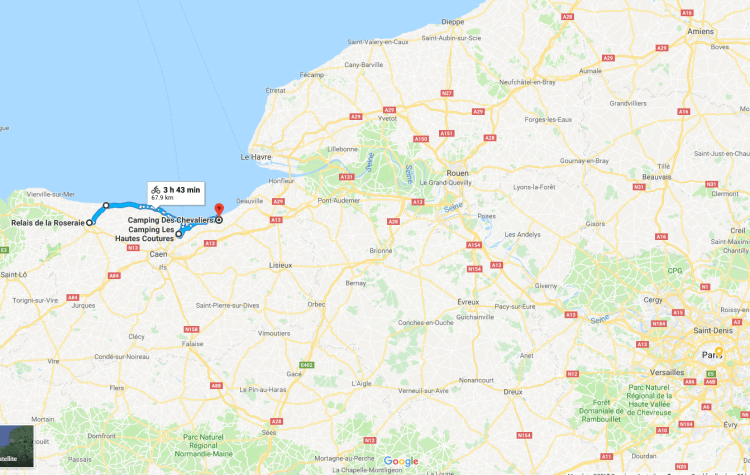 My route in context (Paris in the lower right, Amiens in the upper right.) Click to enlarge.