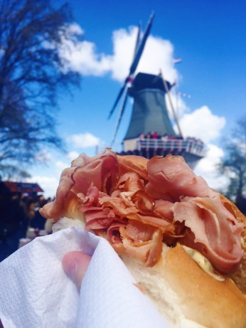 Yummy hot ham sandwich at the tulip festival!