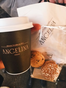 Hot chocolate and macarons at Angelina