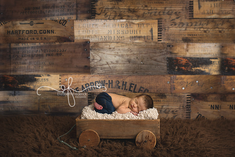 Newborn in a wagon | Green & Navy Newborn Photography Session | Connecticut Newborn Photographer Elizabeth Frederick Photography
