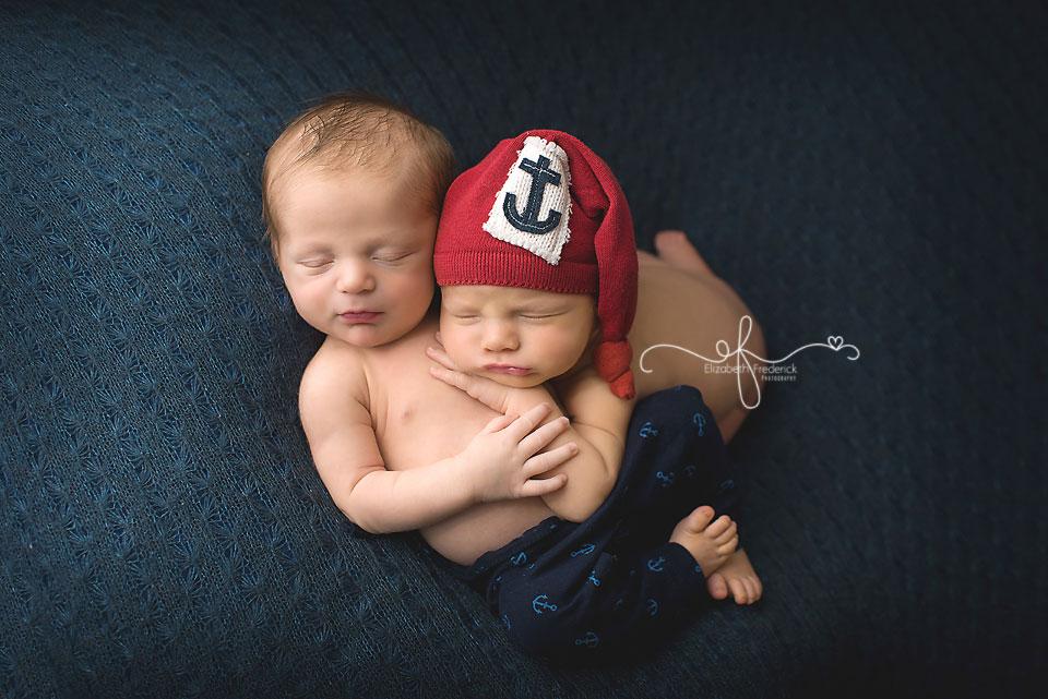 Twin Boys | Twin Newborn Photography | Nautical Twin Newborn Session | Nautical Nursery | CT Twin Newborn Photographer Elizabeth Frederick Photography