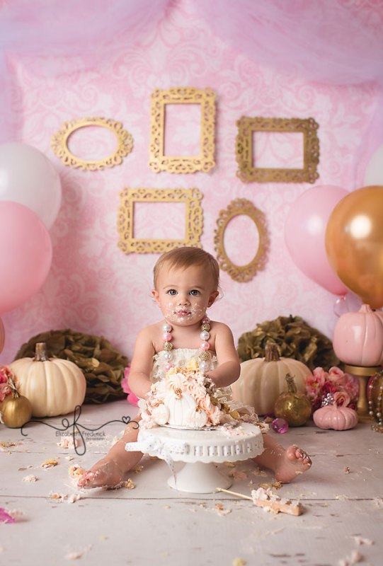 Pink & Gold Fall Pumpkin Vintage Smash Cake Photography Session | Shelton, CT Smash Cake Photographer