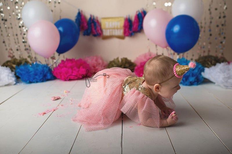 Pink, Blue, & Gold First Birthday Smash Cake Photography Session | West haven, CT Smash Cake Photographer