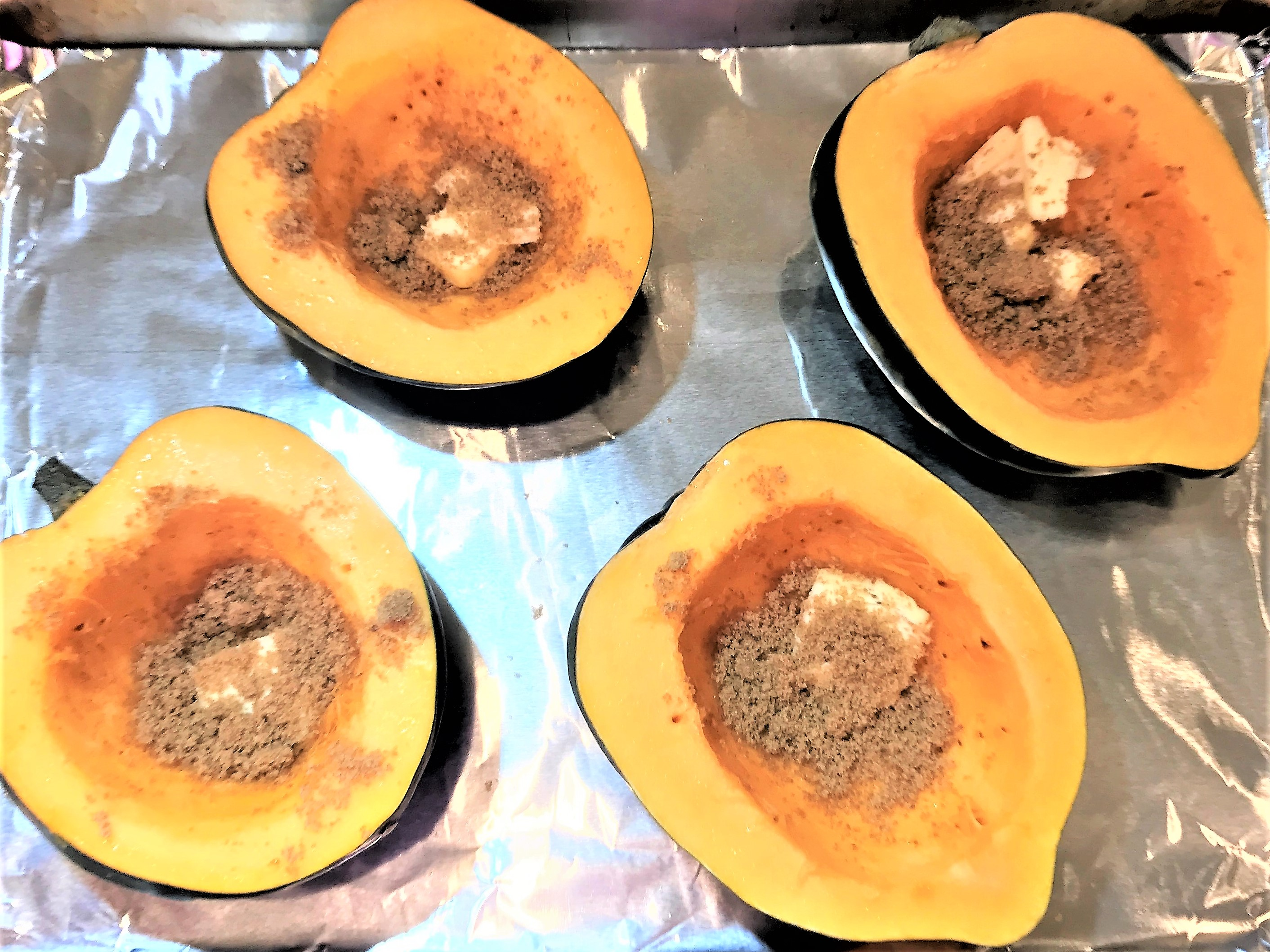 Baked Acorn Squash with Butter & Brown Sugar