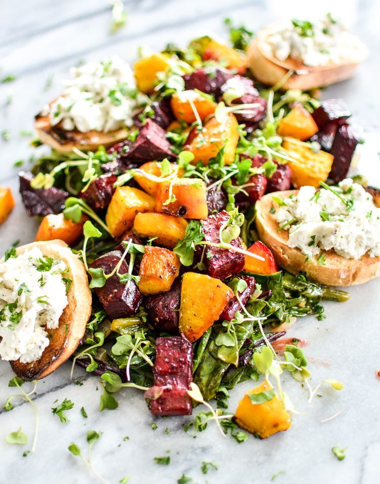 Roasted Beet Salad with Herb Goat Cheese Crostini