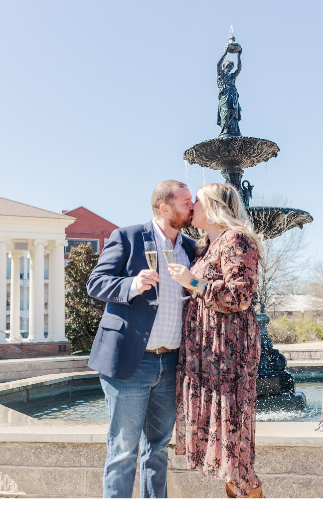 Engagement Photos with Champagne glasses