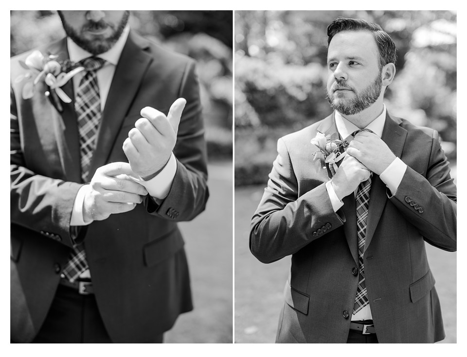 Black and White Image of Groom Getting Ready for Wedding