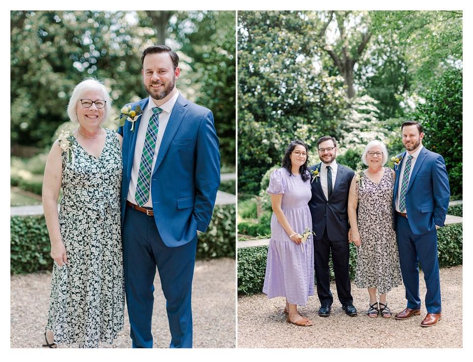 Family members portraits before wedding ceremony