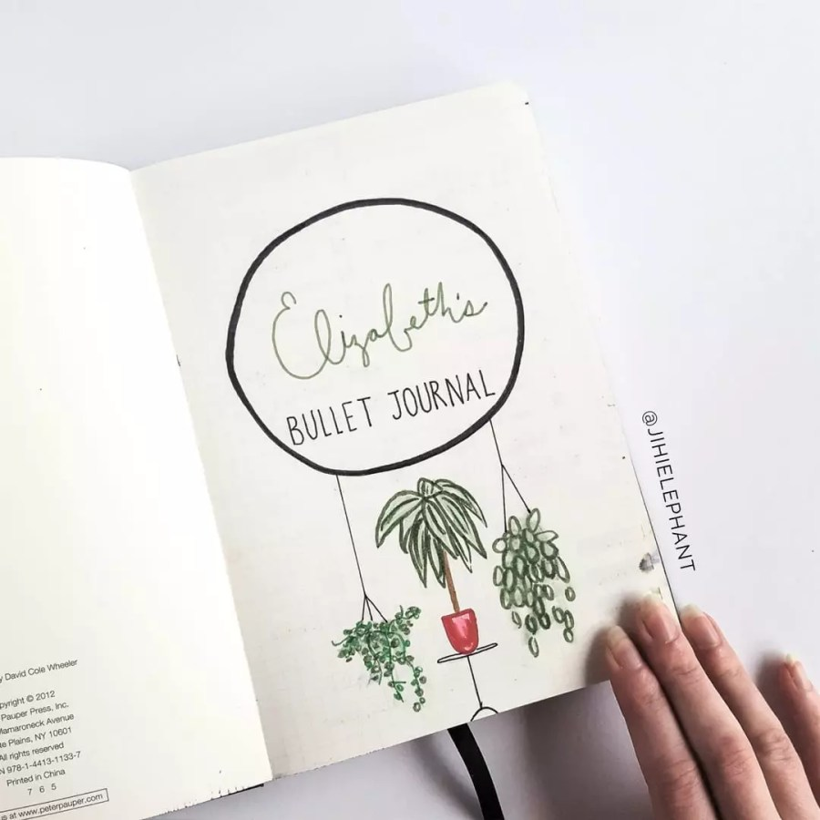 house plant title page bullet journal