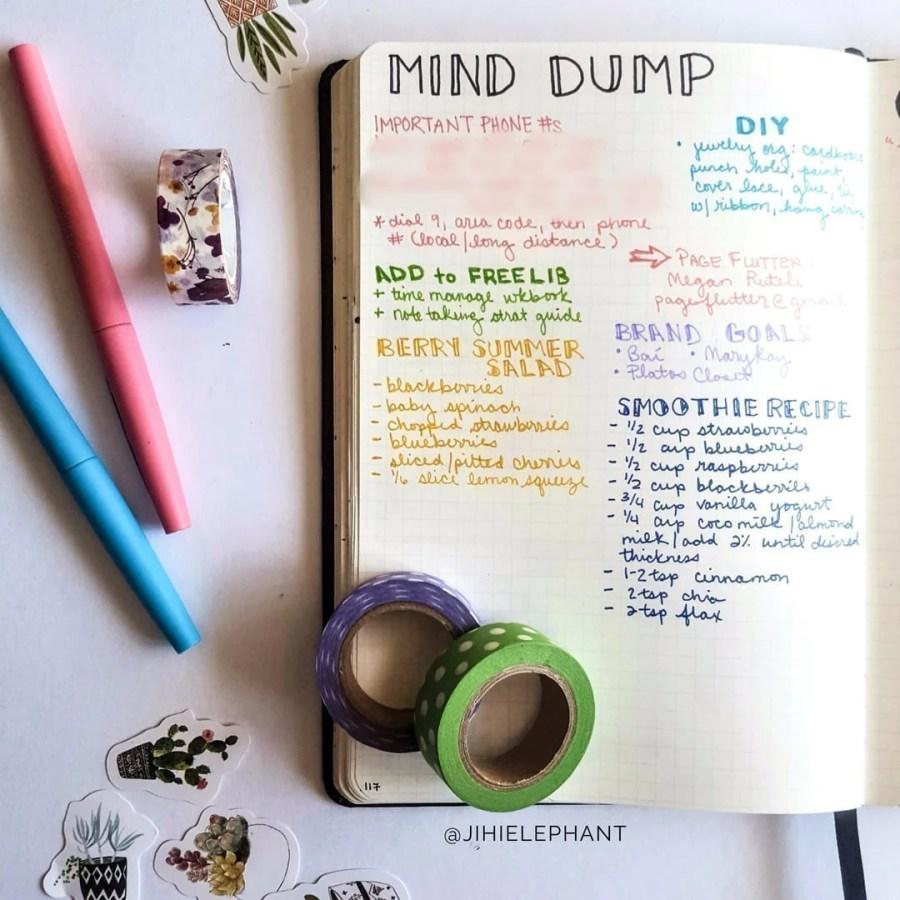 Brain Dump Layout Inspiration for Bullet Journals