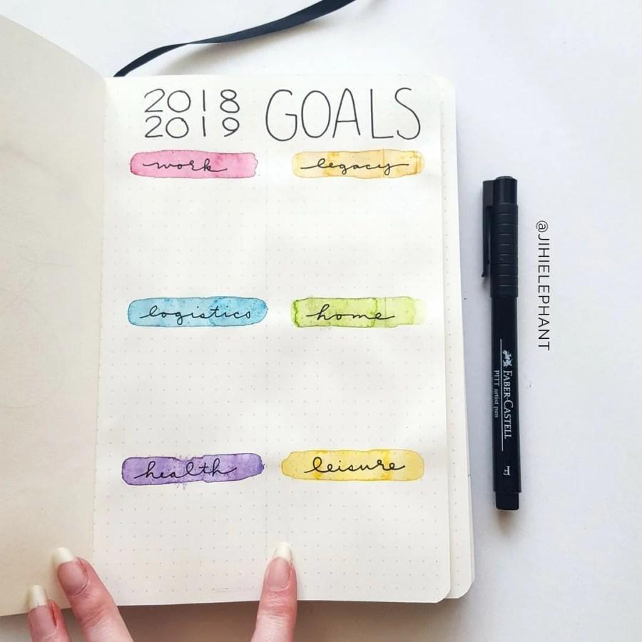 pink orange blue green purple yellow goals 2018 Sam