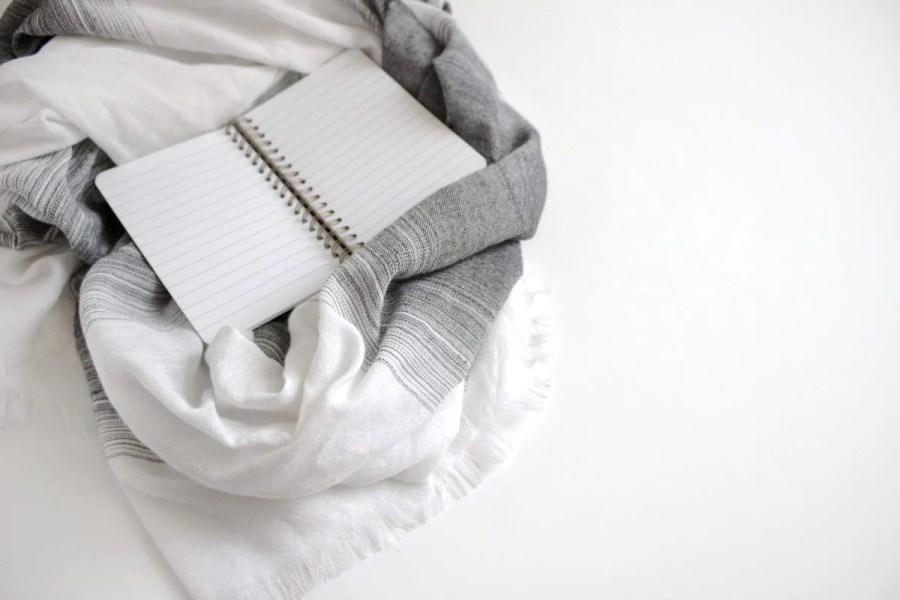 notebook on blanket