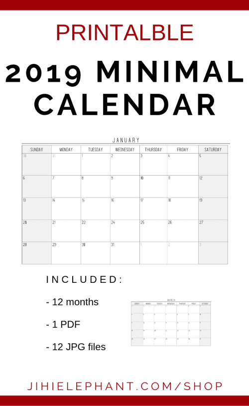 ?zoom 2019 MInimal Wall Calendar | Downloadable | Printable | 11 x 17 | PDF & JPG