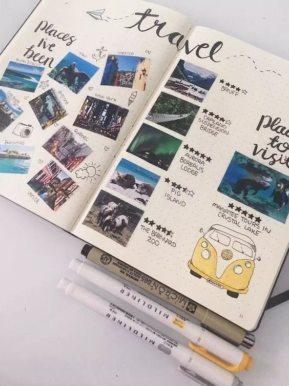 18 Inspiring Travel Planning Bullet Journal Layouts