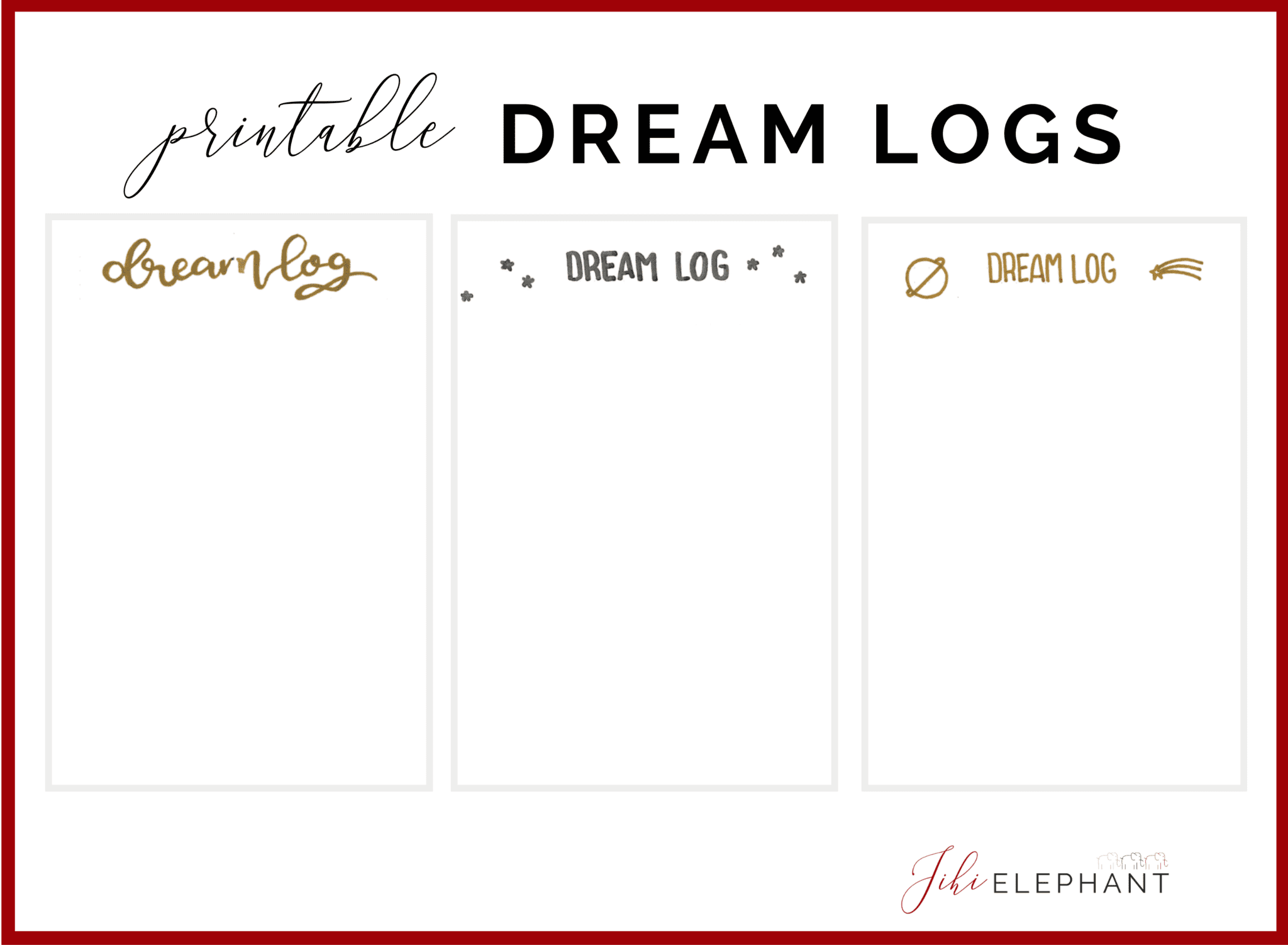 Dream Logs Bullet Journal Printable