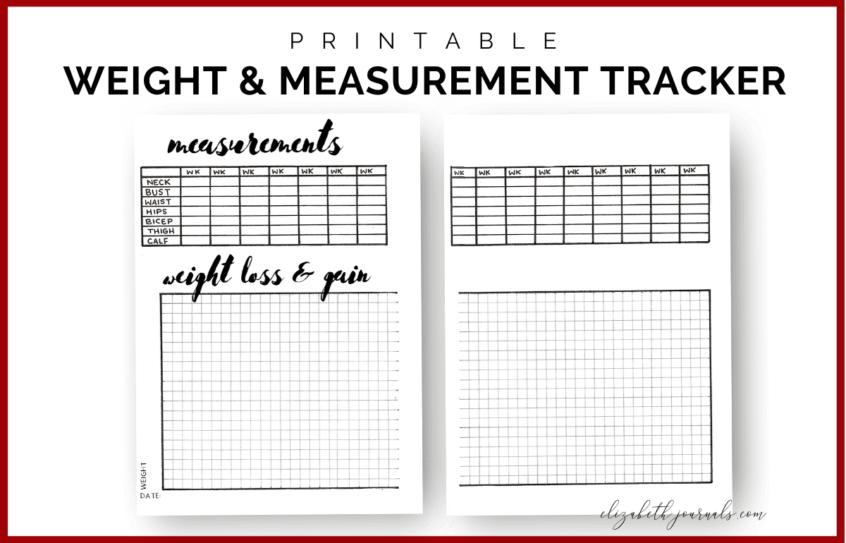 Measurement And Weight Tracker Bullet Journal Printable