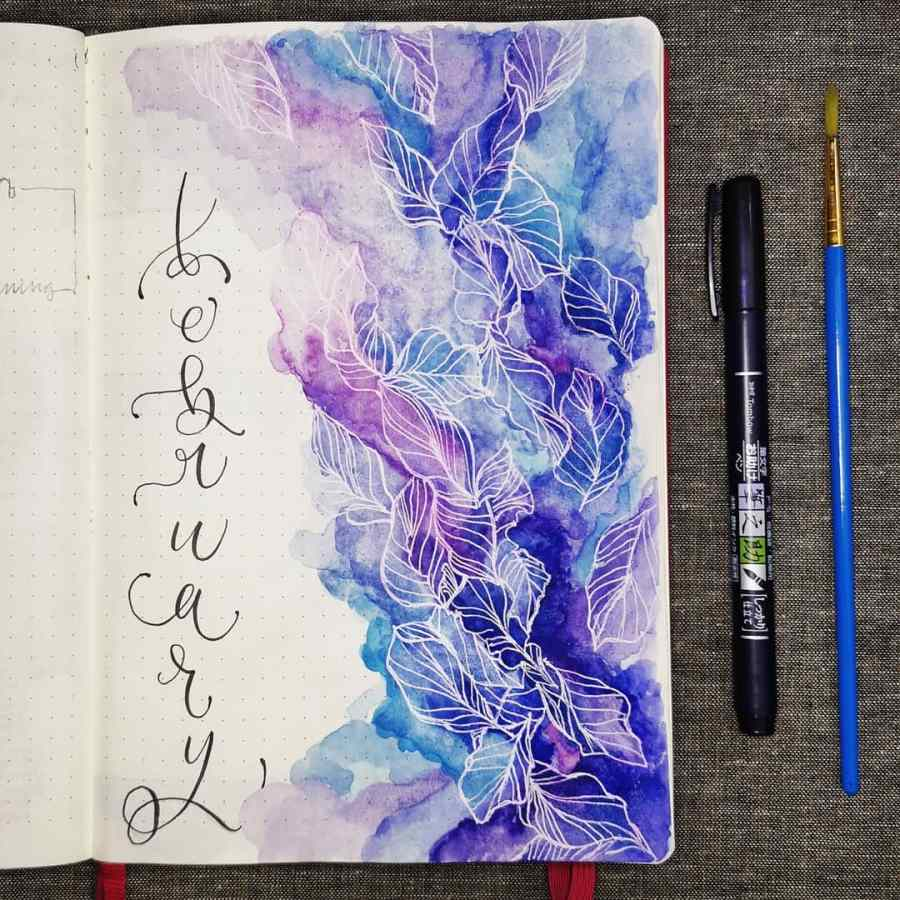 february hello watercolor bullet journal