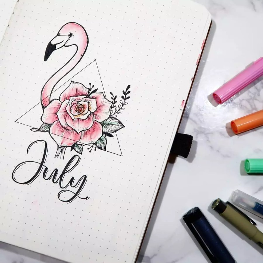 Hello July Pink Flamingo by @ennbuljo