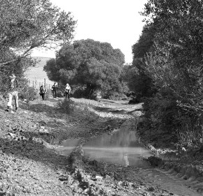Negotiating a muddy road near Zahara, Spain, 2009.