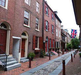 Elfreth's Alley -- it's rare to see any flag other than the American one in the US!