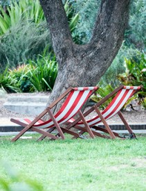 Red-striped deck chairs