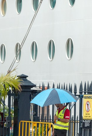 Security guard with umbrella