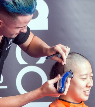 This brave woman opted for a No 1 buzz cut.