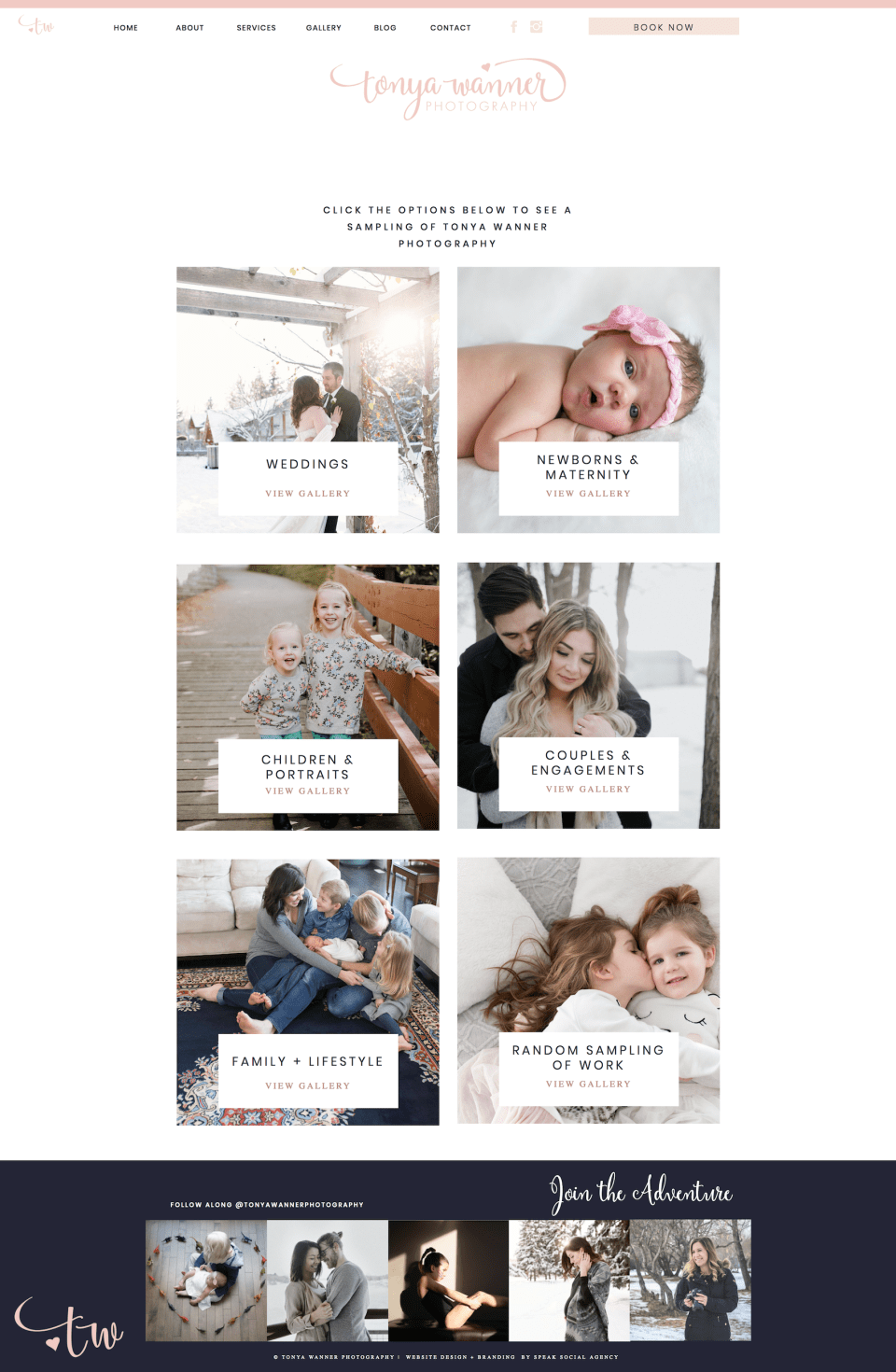 Showit website design for photographer - feminine, pink website for newborn, maternity and family photographer