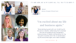 Example of how to display testimonials on your website