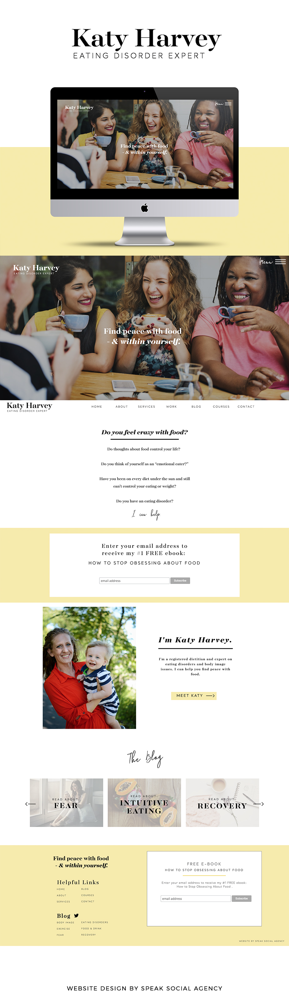 Website design for counselor, eating disorder blog
