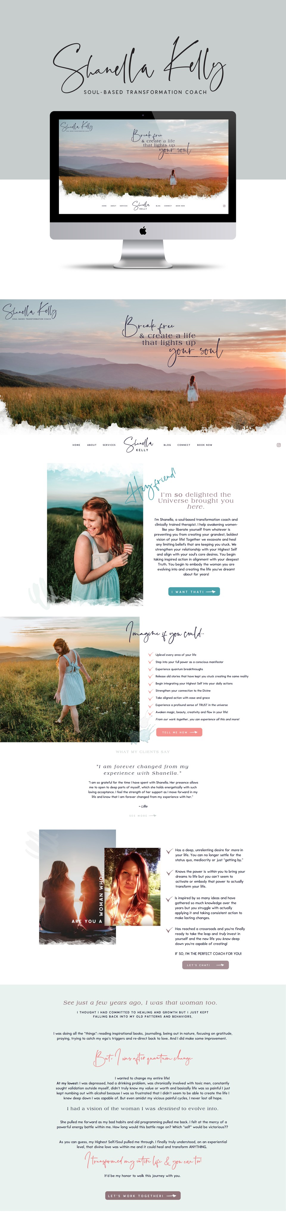 Showit5 websites for life coaches - gorgeous, whimsical, fairtale designs