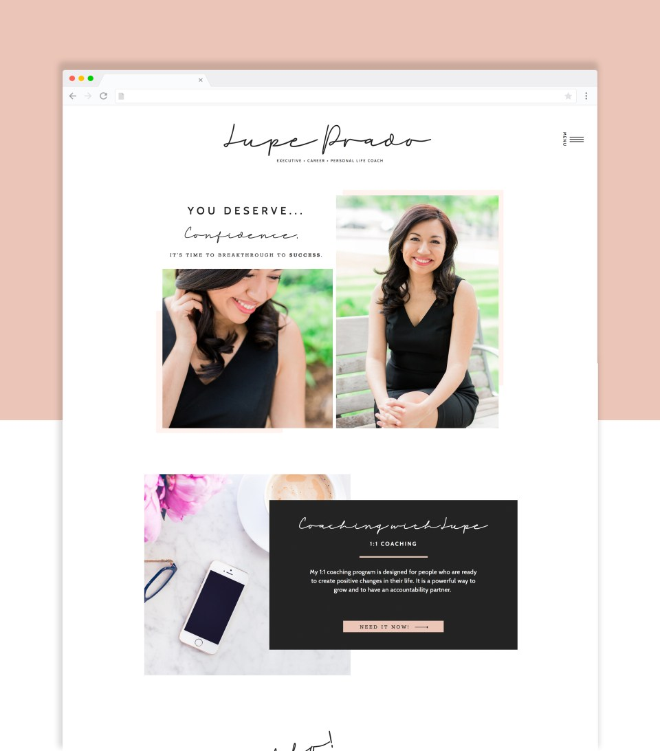 Elegant and feminine website templates for life coaches, career coaches, and consultants.