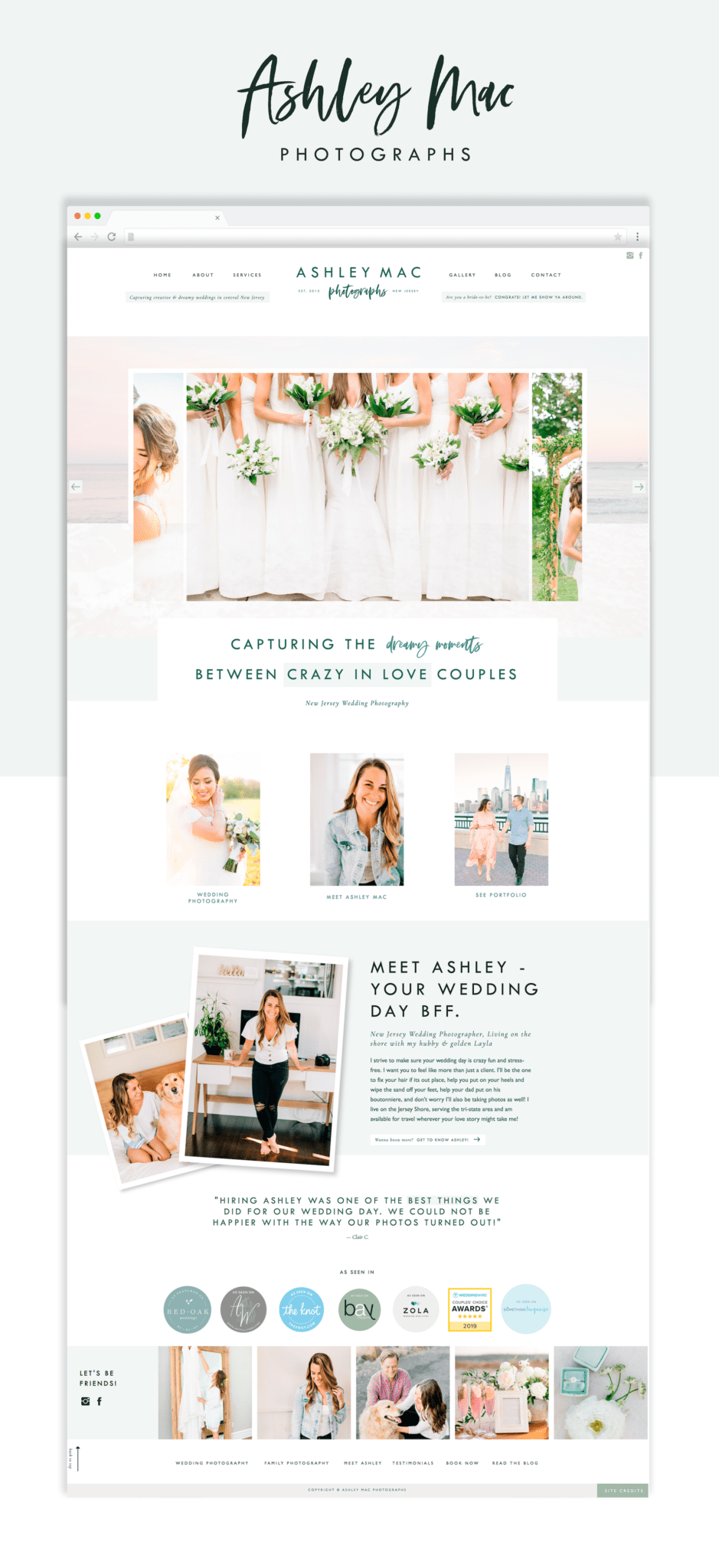 Website design for wedding photographer on Showit5