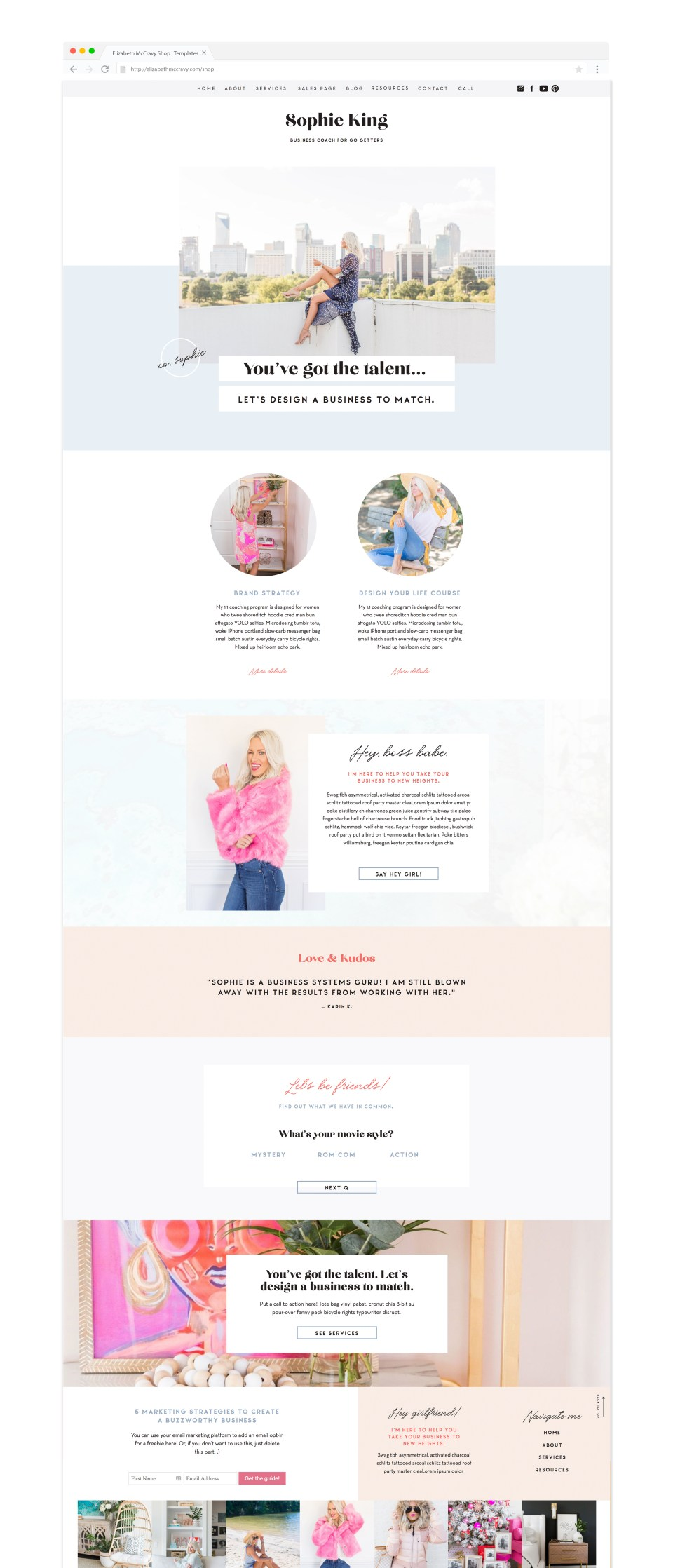 Showit website template for coaches and personal brand businesses - Showit5 Template by EM Shop