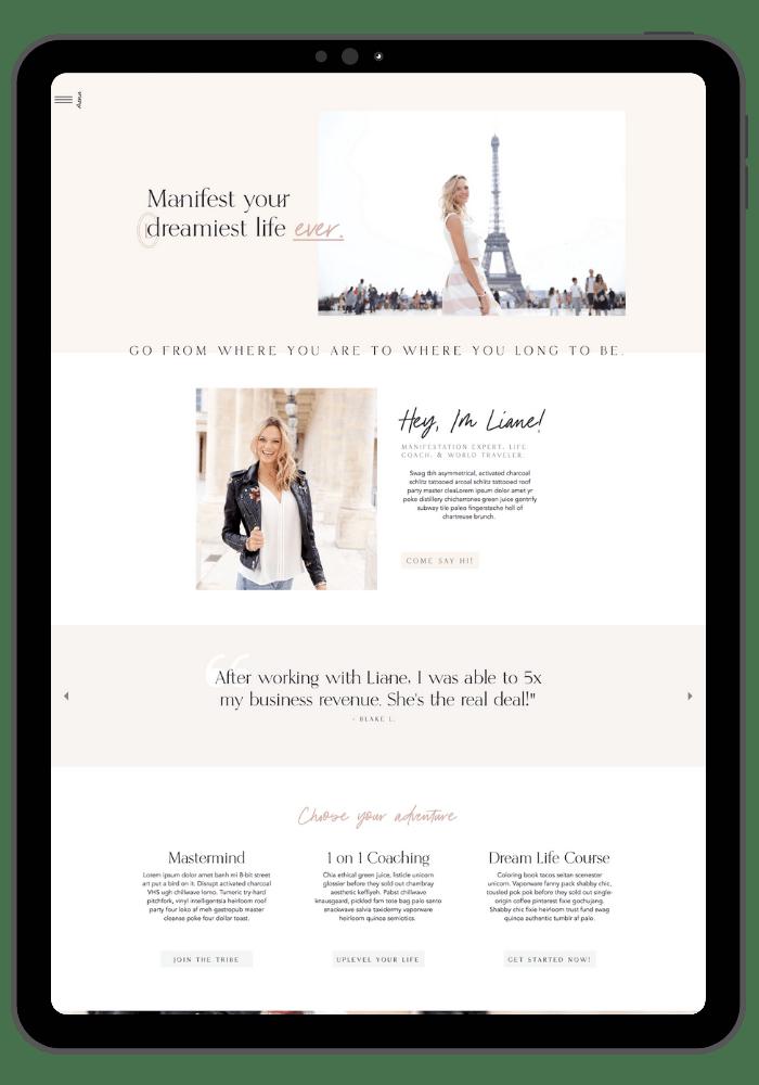 Best website coaching website templates-the Liane template