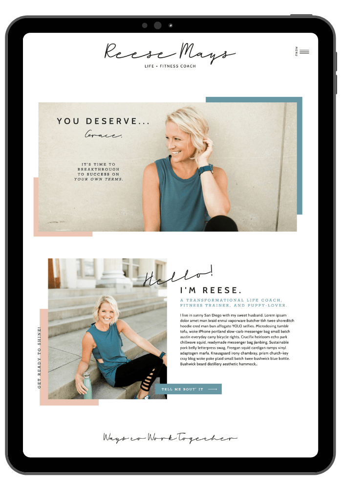 Premium Website Templates - Reese Template - Showit5 website template for life coaches and personal trainers