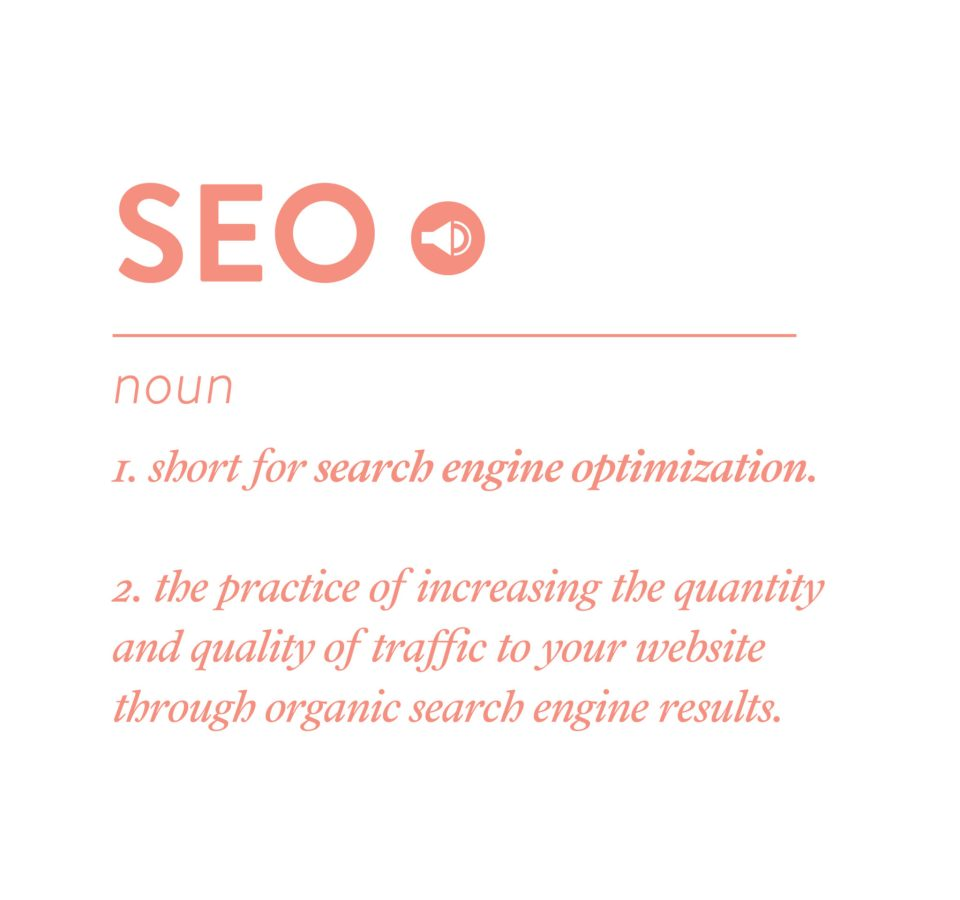 Define SEO as search engine optimization meaning the practice of increasing the quantity and quality of traffic to your website through organic search engine results.