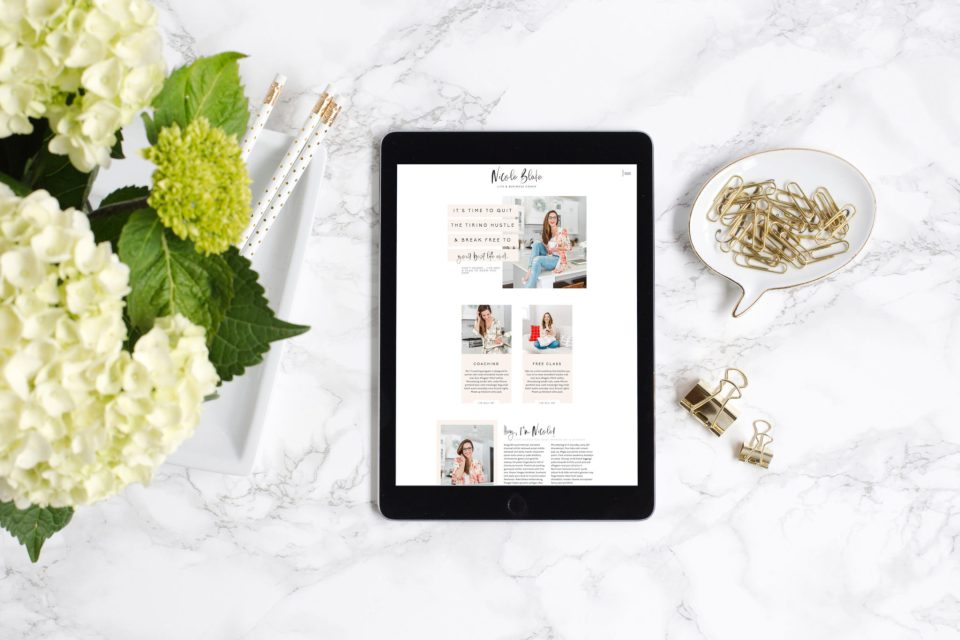 The Nicole Blake website template is the perfect Showit template for coaches, consultants, online marketers, bloggers, and so many other female entrepreneuers! Learn more about it!