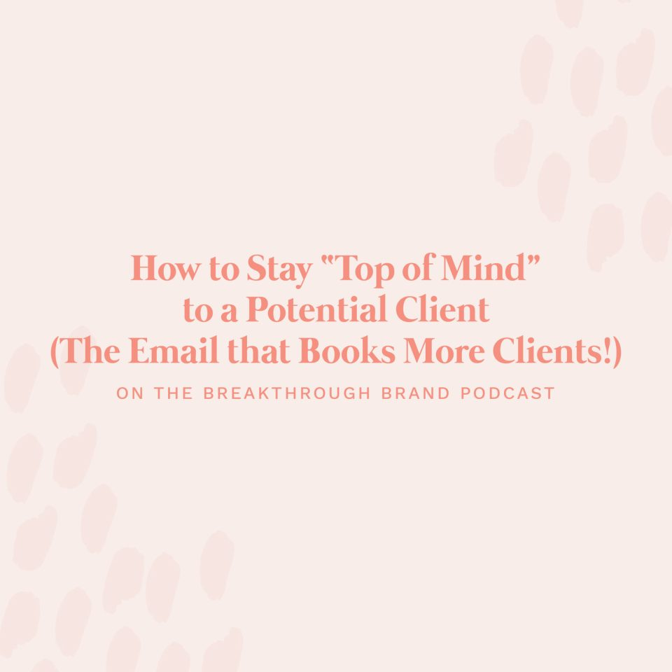 "Learn how to stay ""top of mind"" with potential clients using the email that books quickly!"