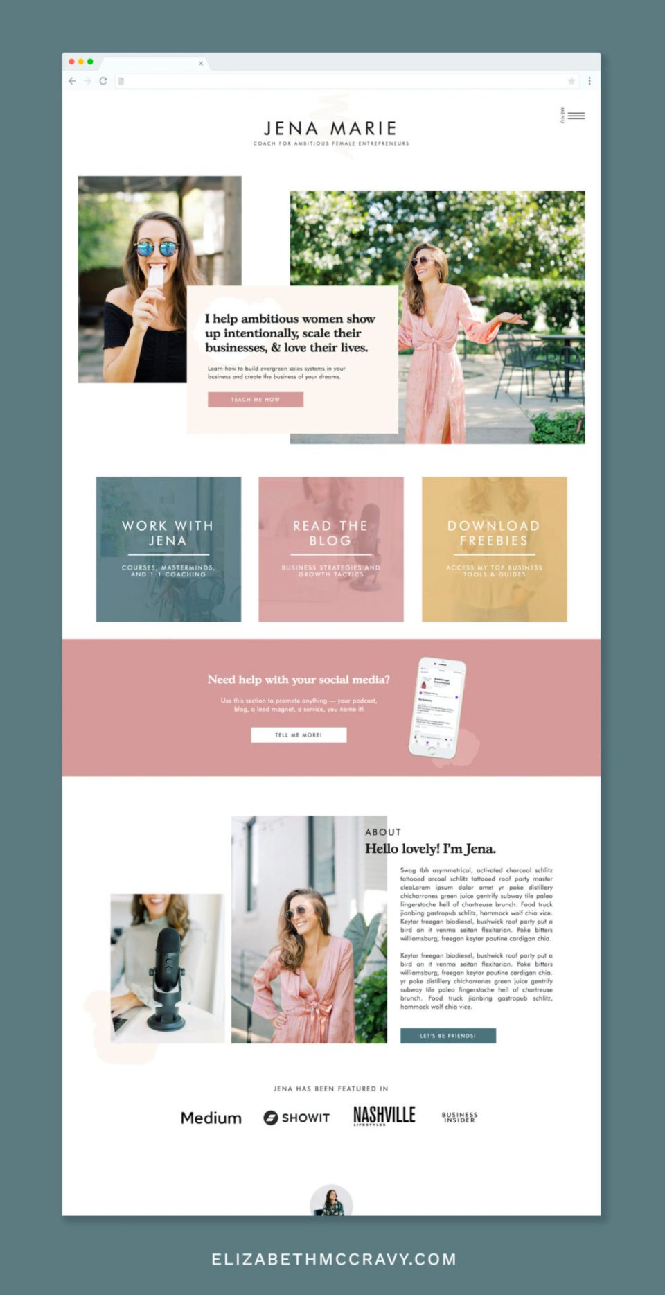 Jena website template for podcasters - Showit template for coaches, consultants, and virtual assistants.