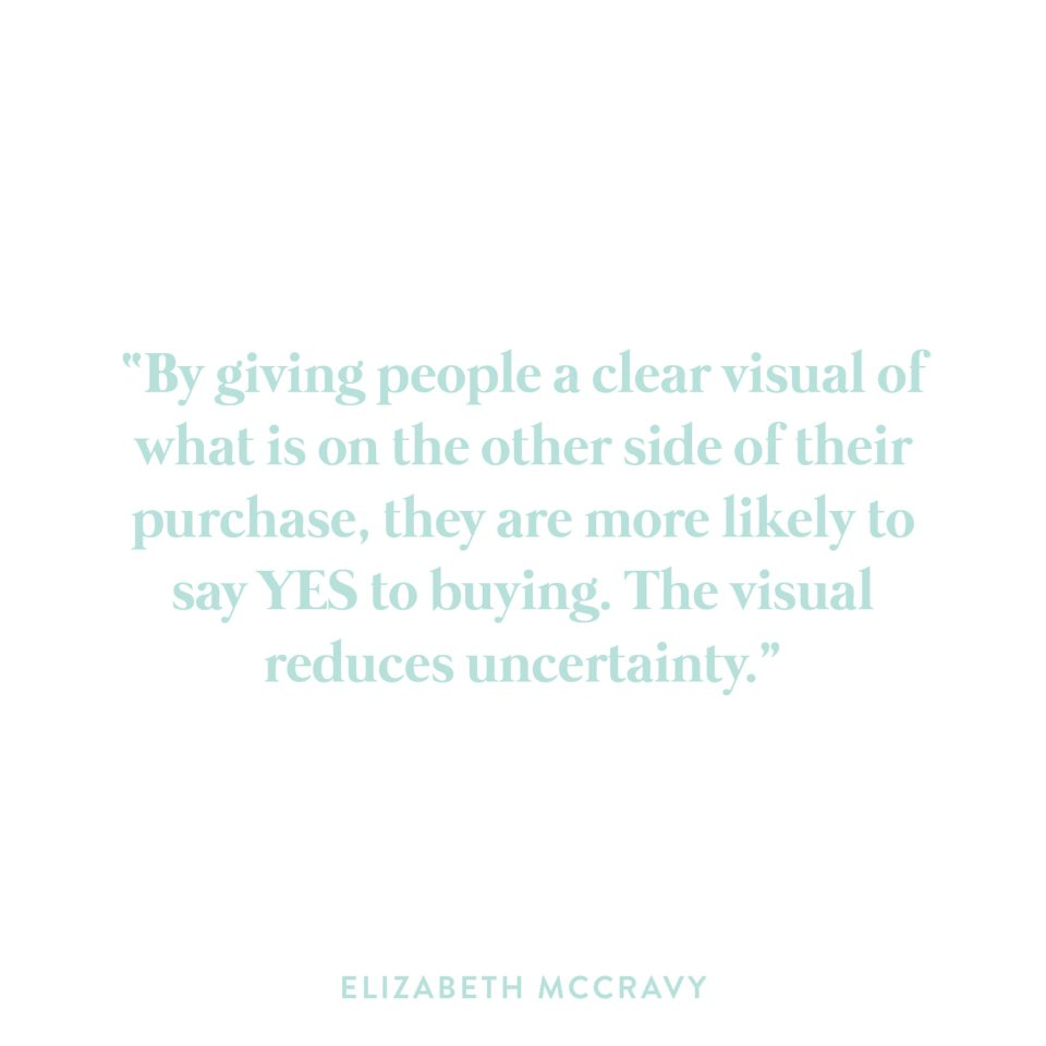 By giving people a clear visual of what is on the other side of their purchase, they are more likely to say YES to buying. The visual reduces uncertainty.