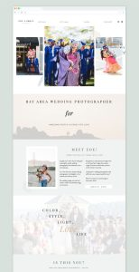 Zoe Larkin, wedding photographer's Showit website from EM Shop template.