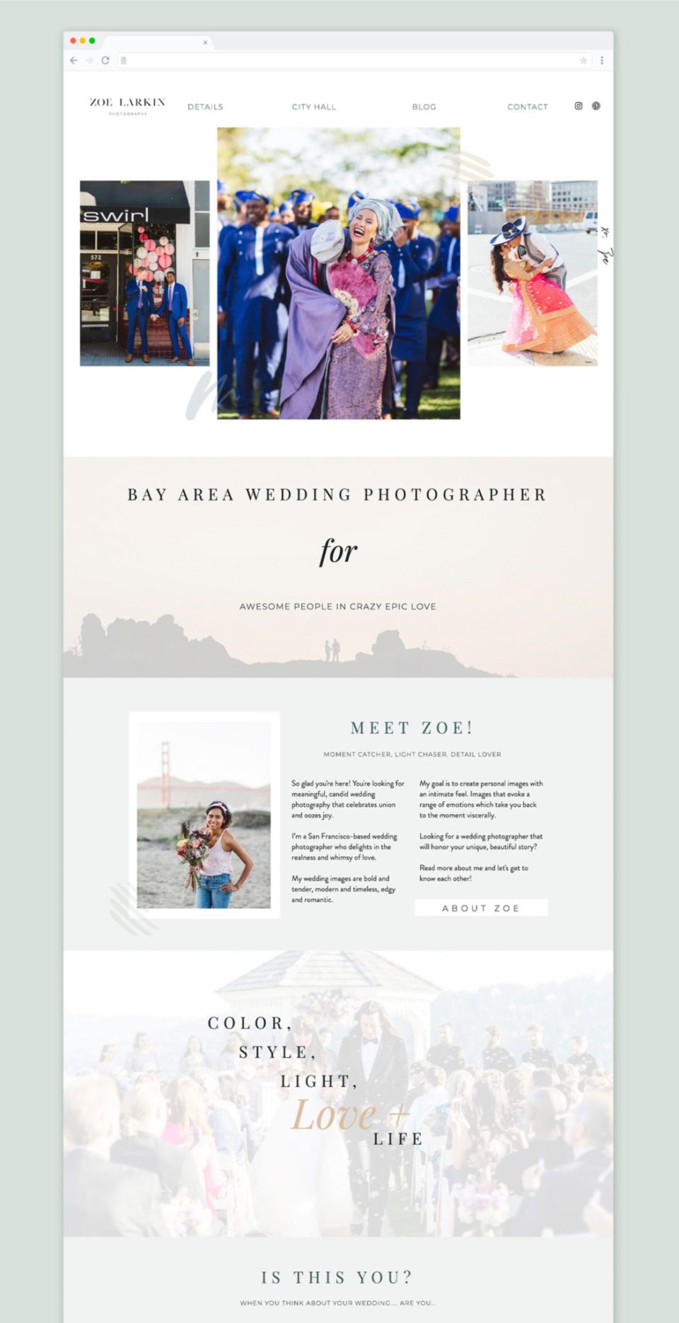 Zoe Larkin, wedding photographer's Showit website from EM Shop template.